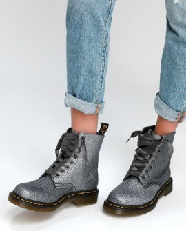 1460 Pascal Pewter Glitter 8-Eye High Heel Boots