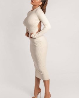 Aliza Cut Out Tie Back Long Sleeve Midaxi Dress