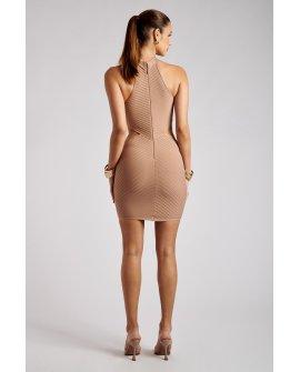 Lauryn Halter Halter Mini Bandage Dress- Nude