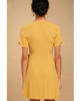 My Philosophy Golden Yellow Wrap Dress