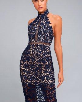 Divine Destiny Navy Blue Lace Midi Dress