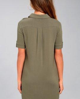 Oxford Comma Olive Green Shirt Dress
