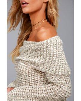 BB Dakota Tegan Beige Off-the-Shoulder Sweater