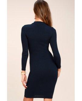 I Mist You Navy Blue Long Sleeve Bodycon Midi Dress