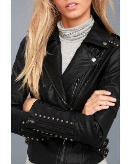 Austin Nights Black Vegan Leather Studded Moto Jacket