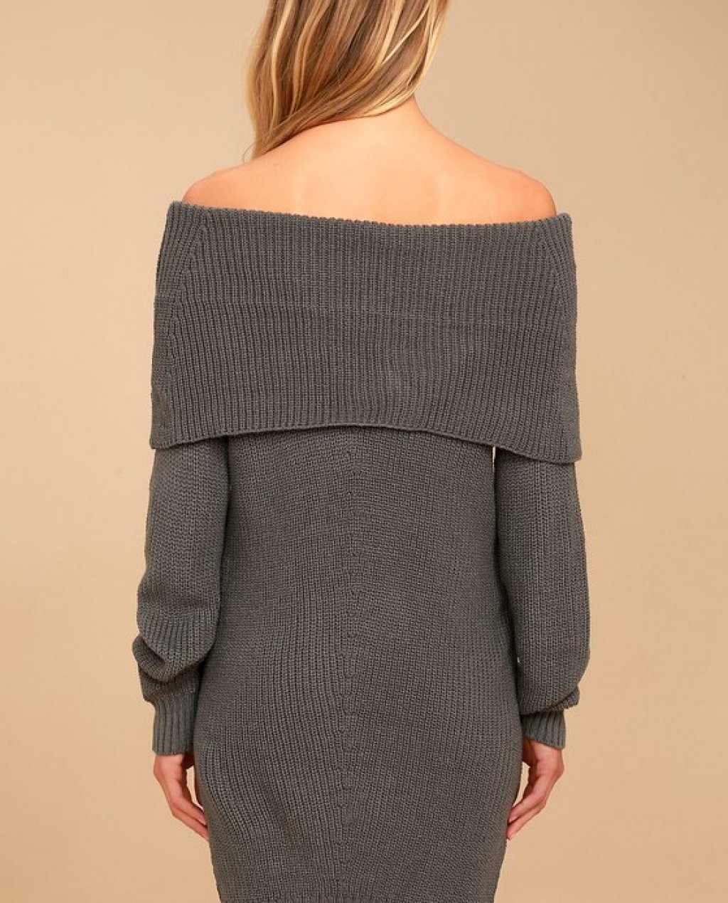 Charcoal Grey Dress - Off-the-Shoulder Sweater Dress Price $75.00