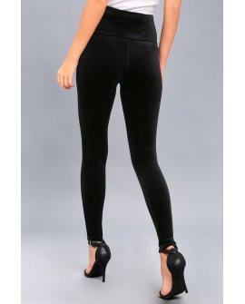 Aviana Black Velvet High-Waisted Leggings