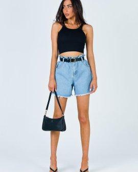 Open Road Denim Paper Bag Shorts Pale Blue