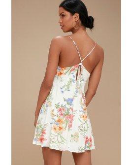 Lily Pond White Floral Print Swing Dress
