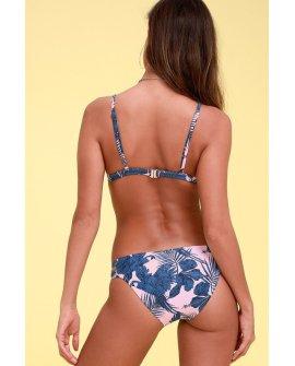 Hibiscus Island Light Pink Tropical Print Strappy Bikini Bottoms