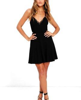 Perfect Evening Black Lace Skater Dress