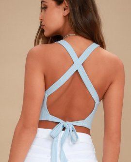 Party Vibes Light Blue Crop Top
