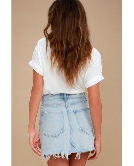 Quinn Light Wash Distressed Denim Mini Skirt