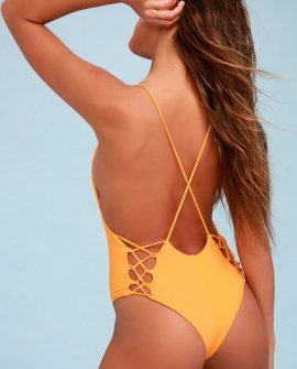 Up And Away Golden Yellow One-Piece Swimsuit