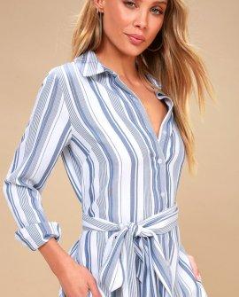 c85b5fb89acc7d Chic Executive Blue and White Striped Shirt Dress