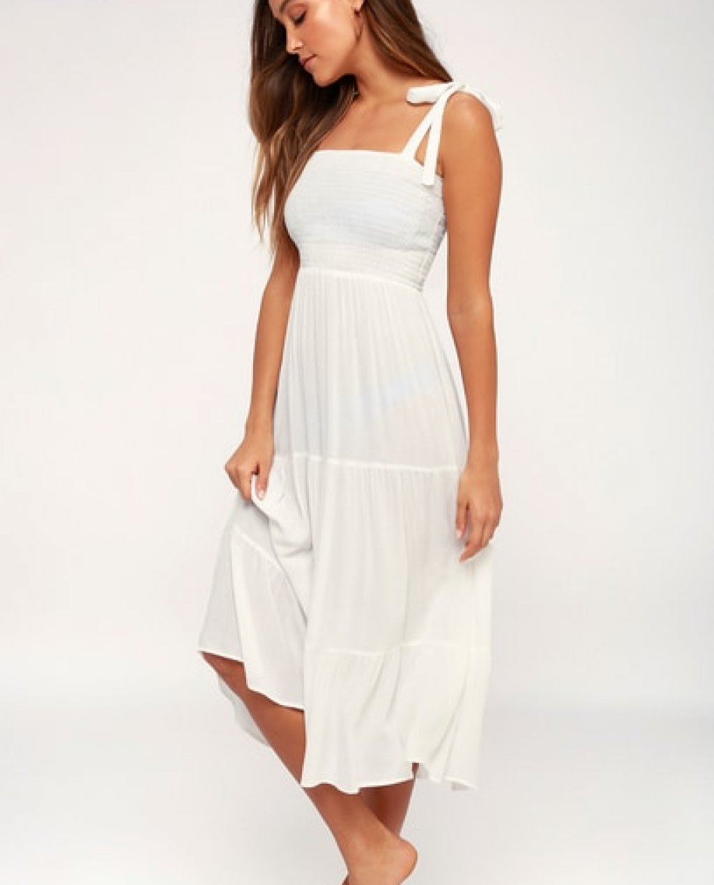 49a843ddf5 Leoni White Tie-Strap Smocked Swim Cover-Up