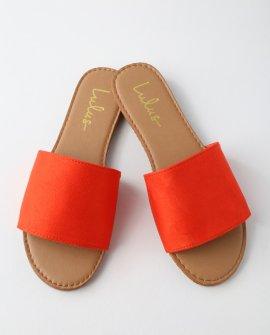 Addison Orange Suede Slide Sandal Heels