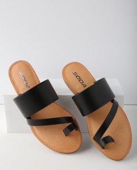 Avena Black Flat Sandal Heels