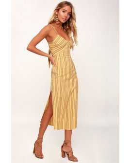 White Sands Yellow Striped Tie-Back Midi Dress