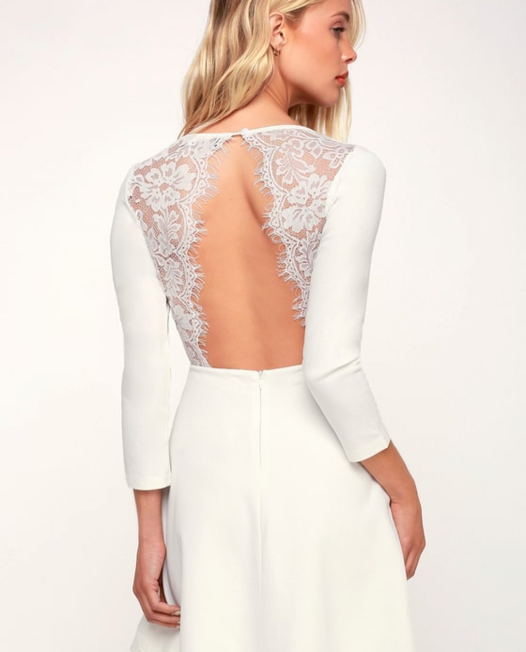 ee96dbf9c9 Felicity White Backless Lace Skater Dress
