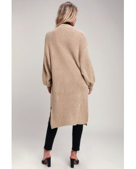 At Home Beige Chenille Long Cardigan Sweater