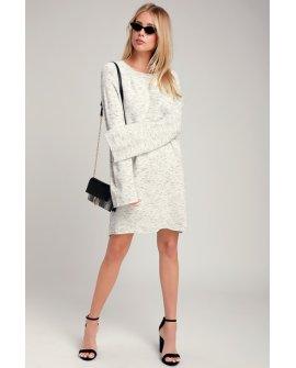Grafton Heather Grey Bell Sleeve Sweater Dress