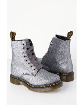 1460 Pascal Pewter Glitter 8-Eye High Heel Boots