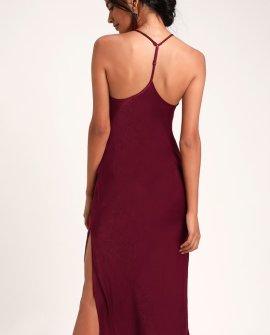 Caulmond Burgundy Satin Midi Slip Dress