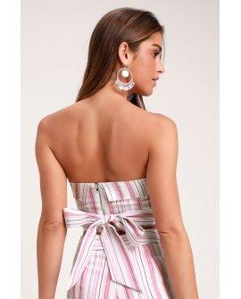 Daria Pink Striped Tie-Back Strapless Crop Top