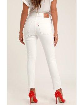 501 Skinny White High Rise Jeans