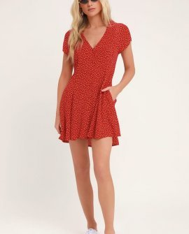 Milla Red Floral Print Button-Up Mini Dress