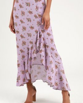 Camila Lavender Floral Print Ruffled Midi Skirt