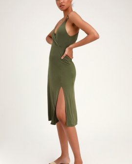 Cannon Olive Green Backless Midi Dress