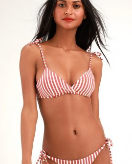 Dos Palmas Tali Rust Red and White Striped Bikini Top