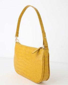 Kimmy Mustard Yellow Snake Embossed Handbag