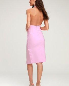 Essie Mauve Pink Tie-Front Halter Dress