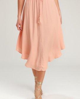 Regatta Blush Pink Tassel Midi Skirt