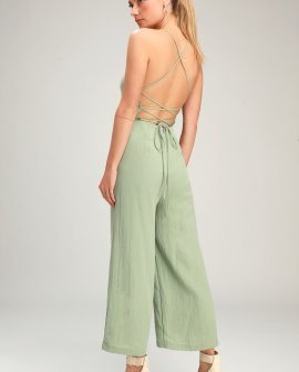 a96370ad483 Adelia Sage Green Lace-Up Culotte Jumpsuit