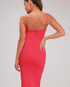 Attitude Hot Pink Bodycon Midi Dress