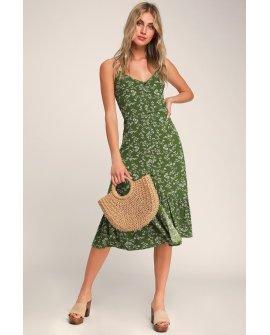 Missie Olive Green Floral Print Ruffled Tie-Back Midi Dress