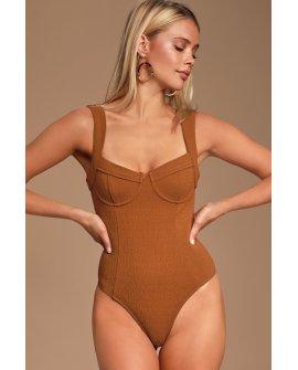 Angela Rust Brown Underwire Bodysuit