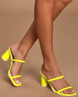 Noles Neon Yellow Leather High Heel Sandal Heels