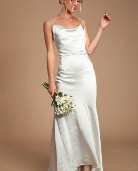 Aisle White Satin Cowl Neck Maxi Dress