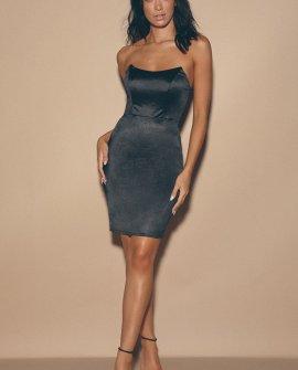 Malory Black Satin Strapless Bodycon Mini Dress