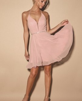 Bling Queen Blush Pink Lace-Up Rhinestone Skater Dress