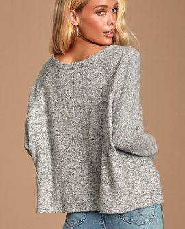 Cozy Central Heather Grey Ribbed Sweater Top