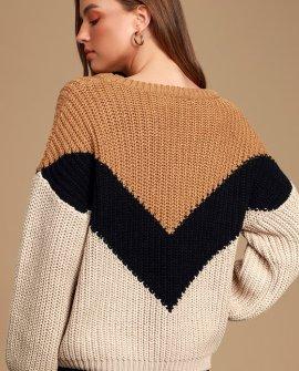 Autumn Leaves Tan Multi Chevron Stripe Knit Sweater