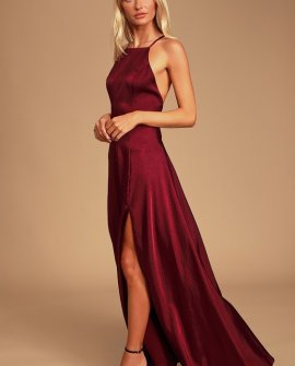 Total Beauty Burgundy Satin Backless Maxi Dress