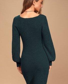 Heart Of Mine Dark Teal Balloon Sleeve Knit Sweater Dress