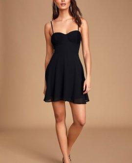 Sweet Kiss Black Pleated Bustier Skater Dress